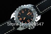 44mm Parnis Steel Shell Rims Orange Luminous Dial 2836 Movement Leather Strap Watch P6012