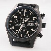 Details about 42MM parnis 316L stainless steel black dial PVD date quartz lumin men Watch 529