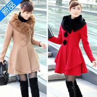 2014 women coat jacket autumn and winter woolen skirt rabbit fur collar cashmere coat long woolen coat female1232