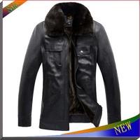 2014 New Brand Mens Winter Jacket Casual Winter Coat Leather Jacket Waterproof Outdoors Leather Coats Fur Collar Men Overcoat