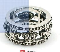 Crow heart chrome already Justin Davis ring crown 925 Thai silver R276 restoring ancient ways