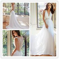 Romantic Slim A-line Floor length Chapel train Sleeveless V-neck Draped Bodice Hand-beading Waist Ivory Chiffon Wedding Gowns