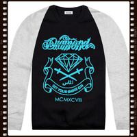 Free Shipping Stock Diamond New Arrival American Street Fashion Diamond Men Skateboard Hoodie Sweatshirt Sweater