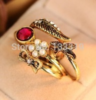 Old Europe and America swallows Five-piece bow wings gem ring  Min.order is $5(mix order),Free shipping