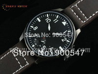 44mm Parnis PVD Case 6498 Hand Winding Black Dial Leather Strap Watch