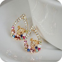 fashion Korean jewelry color crown drop earrings elegant earrings Min.order is $5 (mix order) free shipping