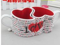 Loving couple of glass ceramics gift mugs Wedding gift mugs Creative, heart-shaped cups