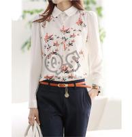2014 fashion turn-down collar bird print chiffon women blouse & shirts autumn woman tops workwear Q1001