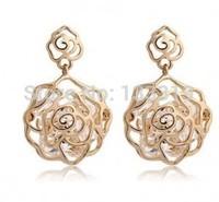 Myesoul New 2014 Fashion Roses bloom encounter zircon earrings pierced earrings Min.order is $5 (mix order)free shipping