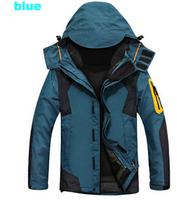 Dropshipping 2014 new winter outdoors sport waterproof Camping hiking windstopper trekking windbreaker 3 in 1 hiking jacket men