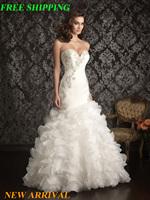 E251 fashionable white ivory mermaid wedding dress 2015 plus size custom made bridal gown vestidos vestido de noiva casamento
