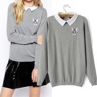 New 2014 Women's Autumn sweater jacquard knit  animal Pullovers sweater Long-sleeve Basic Shirt sport suit women casual Sweater