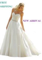 E26 fashionable white romantic beads wedding dress 2014 plus size custom made bridal gown vestidos vestido de noiva casamento