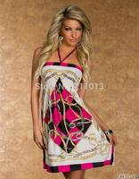 Hot sale fashion glamour summer beach dress halter bohemian dress women dress
