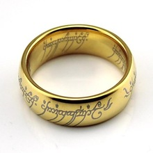 "Classic 18K Gold Plated High Polished with Laser Engraving ""The Lord Of The Rings"" Tungsten Rings"