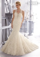 Free Shipping New Style Long Mermaid/Trumpet White/Ivory Exquisite Applique Bridal Gown Wedding Dresses Custom Made