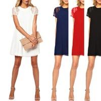 2014 Women's Lady Lace Short Sleeve Chiffon Floral Summer Casual Mini Dress S5M