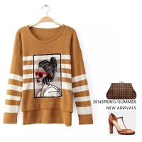 New 2014 Women's Autumn sweater knit character striped long Pullovers sweater Long-sleeve Basic Shirt  women casual Sweater