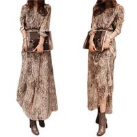 Hot Women Chiffon Snake Print Party Evening Casual Long Maxi Dress Free Shipping S5M