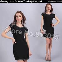 2015 Summer Women Fashion Casual Formal Elegant Beading Short Sleeve Short A-line One-piece Party Dresses Plus size Black QBD214