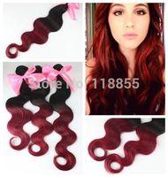 6A Brazilian Ombre virgin body wave hair extensions 3pcs dip dye 1b/99J Burg loose deep wave curly hair weave free shipping