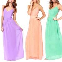 Women Summer Dress Sexy Backless Spaghetti Strap Novelty Maxi Long Sundress S5M