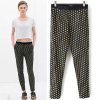New women fall & winter women clothes Polka Dot pencil pants casual skinny pants all match trousers elastic waist pockets S-XL