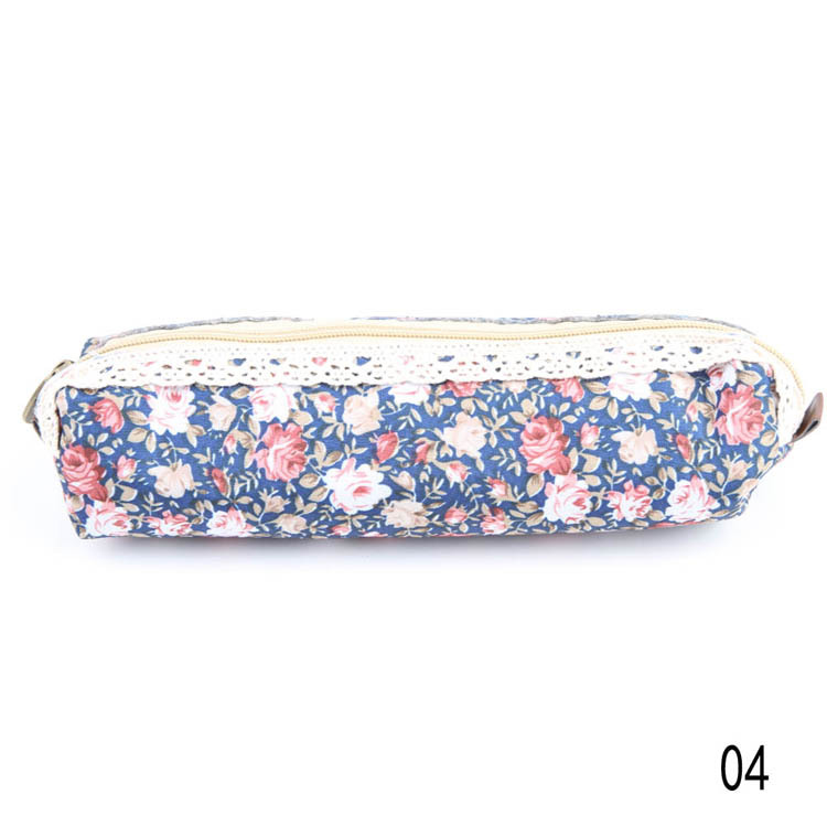 New Arrival fashion Cute Polka Dot Floral student pencil bag storage bag stationery cases drop shipping OSS-0095(China (Mainland))