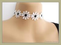 Bohemian Retro Black White Rose Daisy Flower Pattern Lace Choker Necklace
