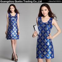 2015 Women Summer New Fashion Slim Elegant Circle Sequined Beading Tank Short Dresses Sexy Club Party Vestidos Blue QBD264
