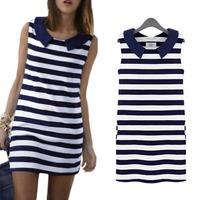 2014 Fashion Slim Womens Ladies Striped Sleeveless Lapel Summer Casual Mini Dress S5M