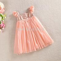 5pcs/lot New 2014 Children Clothing Girls Yarn White Dress Sequined Bling Bling Baby Girls Summer Dresses Kids Outerwear