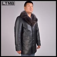 2014 NEW Men's Genuine leather coat with fox fur collar&full sleeve&medium length Man leather jacket  DRESS Jacket overcoat