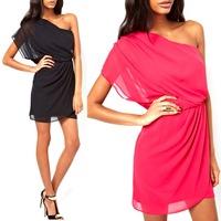 Womens Sexy One-Shoulder Chiffon Summer Casual Party Evening Short Mini Dress S5M