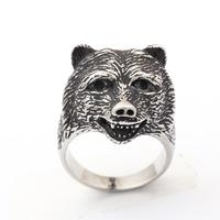 New titanium steel bear head rings casting stereoscopic Punk rings wholesale
