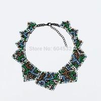 Fashion ZA Brand New Wholesale Deep color Fully Rhinestones Clustered Geometric Collar Choker Bib Necklace High Quality Torques