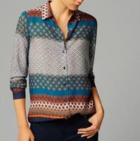 New Fashion Ladies' Elegant colored geometric print blouses turn down collar long sleeve OL shirts casual slim  tops --H959