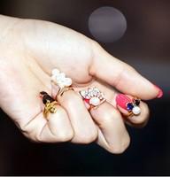 Japan Hot Selling Adjustable Punk Cool Charms Nail Sets 4pcs/set Cute Cat Simulated Pearl Finger Nail Art Rings Women