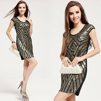 Women's Vintage Black Formal Casual Dresses Golden Gray Sequined Slim Rhombus Pattern Sexy Tank One-piece Party Dresses QBD279