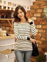 [No.24]Autumn/Winter Women's tees Fashion o-neck tshirt Classical stripe basic shirt for women female long-sleeve cotton t-shirt