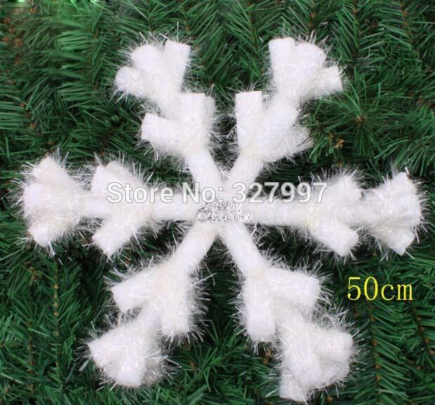 10PCS 50CM Christmas indoor decoration hanging snowflakes large white foam snow flake winter felt tree pendant ornaments(China (Mainland))