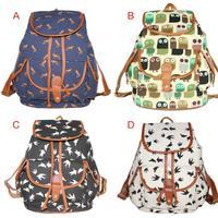 Vintage Women Girl Canvas Pattern Rucksack Backpack School Book Shoulder Bag Free Shipping S5M