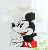 Free shipping children 100%cotton cartoon white mickey t shirt baby short sleeve T-shirt