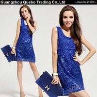 2015 Women Spring Elegant Party Dress Royal Blue Paillette Geometric Sequined Beading Sleeveless Tank Vest Sexy Dress QBD359
