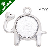 Cute Elephant pendant base with 14mm Round bezel,zinc alloy filled,antique silver plated,20pcs/lot-C4112