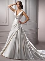 Elegant v-neckline A-line satin bride gown A3571