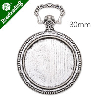 Pocket watch pendant trays with 30mm Round bezel,zinc alloy filled,antique Bronze plated,20pcs/lot-C4119