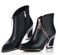 women's genuine leather high heels boots 2014 winter female fashion ankle boots sy-583