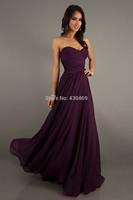 2014 New Fashion Sweetheart Off The Shoulder Floor-Length Purple Chiffon A-Line Bridesmaid Dress With Ruffles Custom
