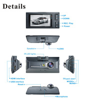 2.7'' LCD screen 170 degree1080P HD car DVR support G sensor motion detection automatic pressure processor built-in GPS optional